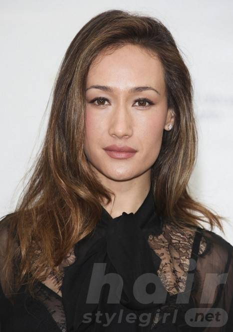 Maggie Q Hairstyles: Brown Curly Hair
