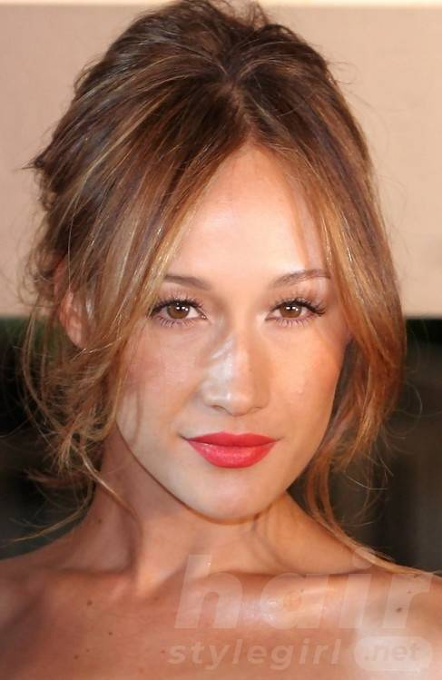 Maggie Q Hairstyles: Alluring Messy Updo