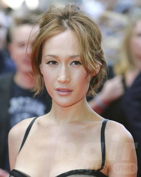 Maggie Q Hairstyles: Sweet Messy Updo