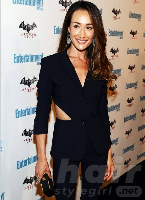 Maggie Q Hairstyle: Trendy Side-Parted Curly Hair