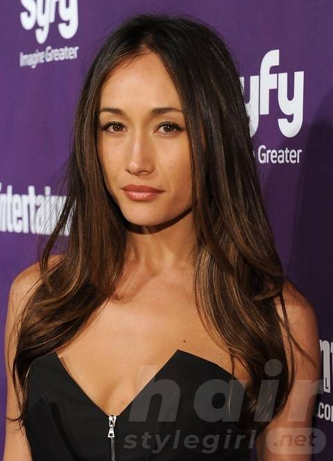 Maggie Q Long Hairstyles: Attractive Center-Parted Straight Cut
