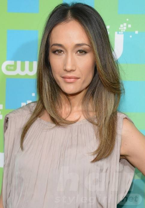Maggie Q Long Hairstyle: Blond Center-Parted Straight Cut