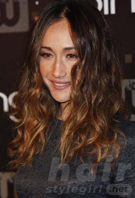 2014 Maggie Q Long Hair styles: Ombre Wavy Cut
