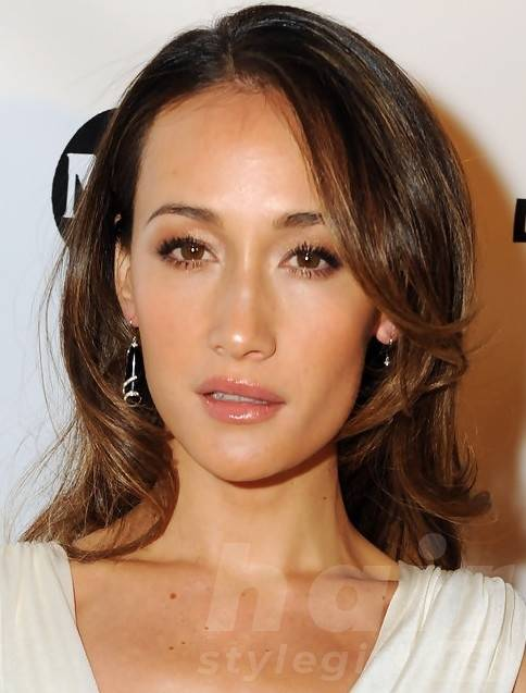 Maggie Q Medium Hairstyles: Voguish Side-Parted Wavy Haircut