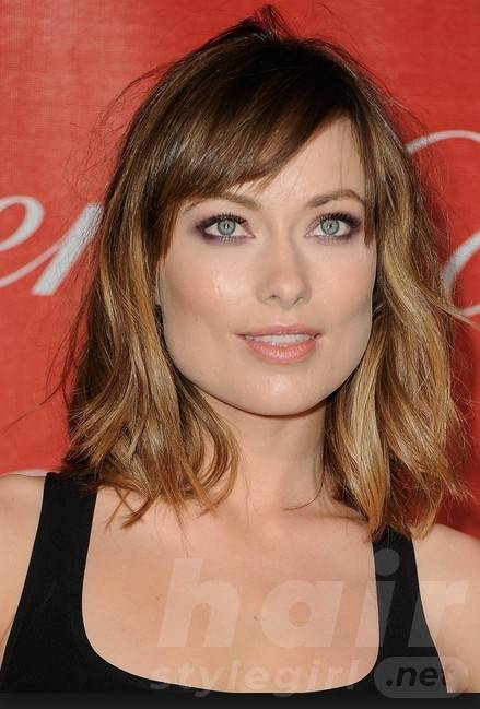 Ombre Shoulder-length Wavy Hairstyle with Side Bangs for Women 2014