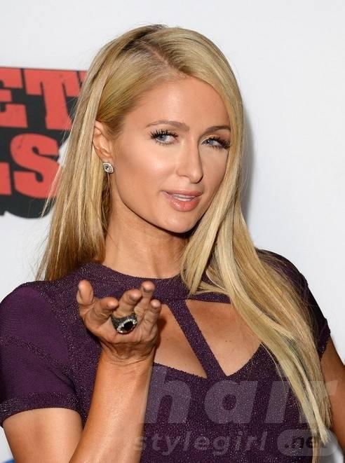 Paris Hilton Long Hairstyles 2014: Sleek and Straight Hair