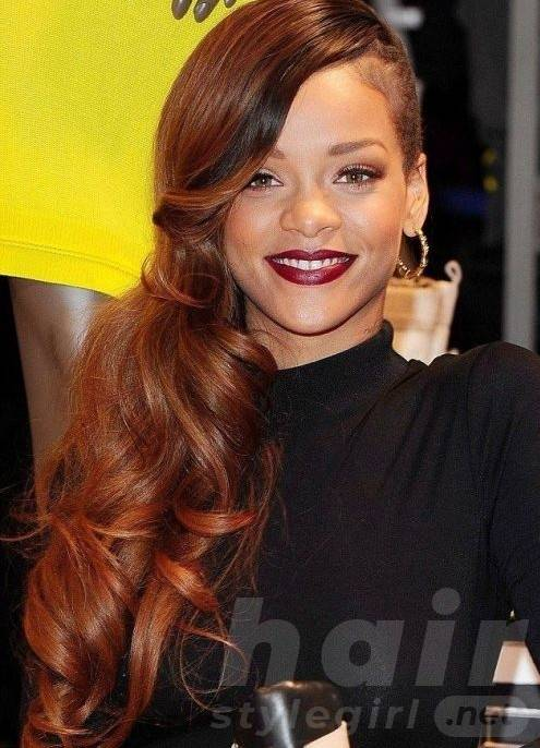 Rihanna Long Hairstyles: Red Curly Hair Style for 2014