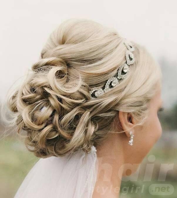 Bridal Updos for Medium Hair with Shinny Headband
