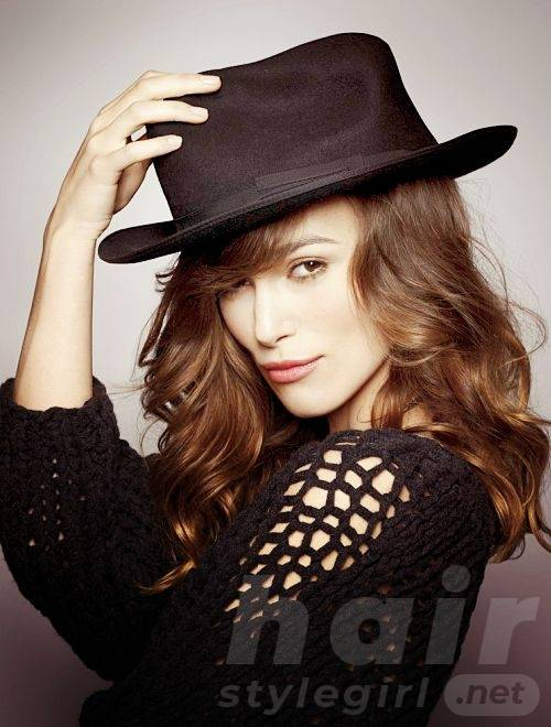 Keira Knightley Hair - Long Wavy Hairstyle With Hat