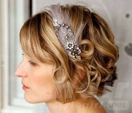 Short Wedding Hairstyle with Headband