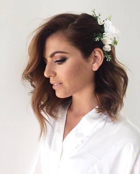 Wavy Short to Medium Hair with Flowers