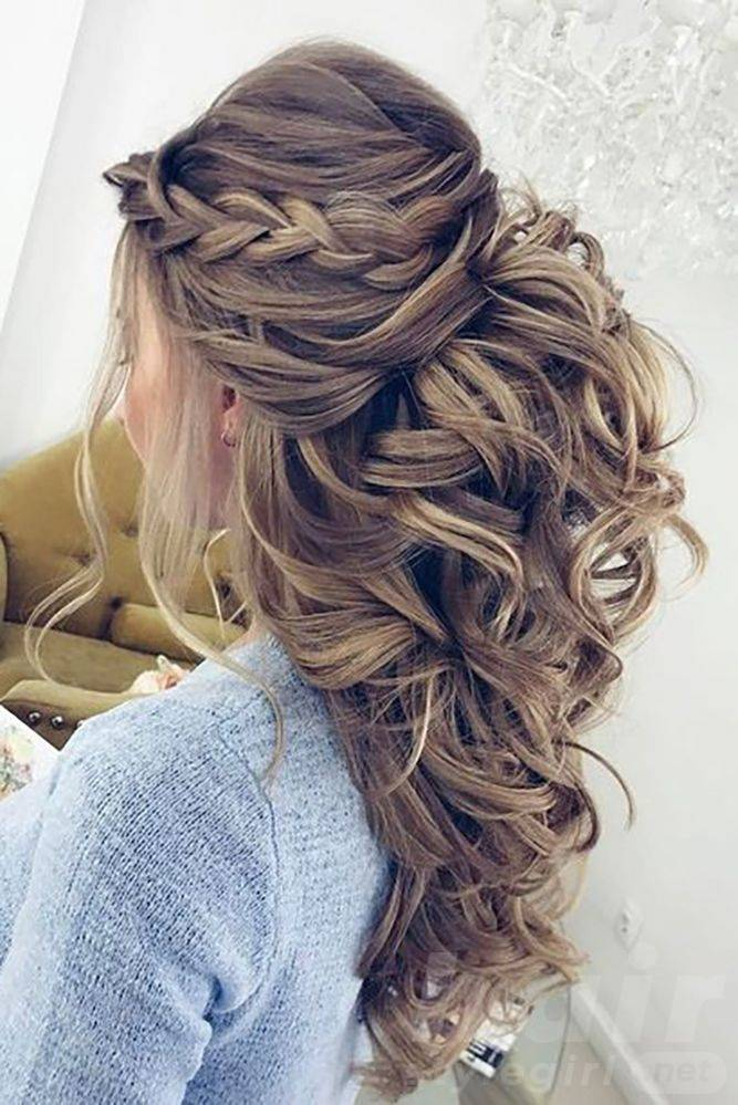 Half Up Braided Hair with Curls