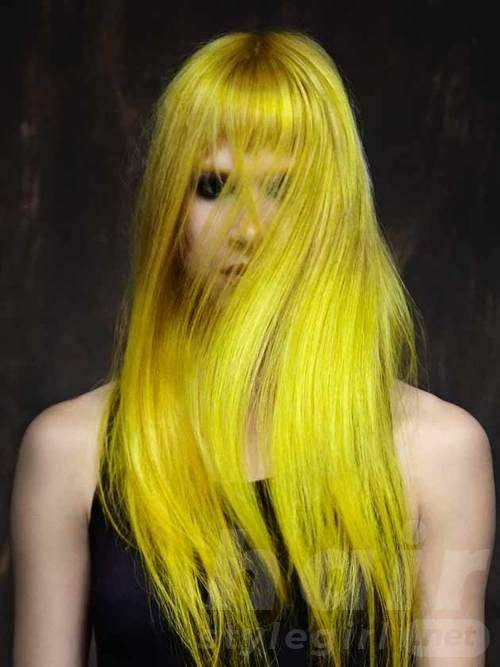 Colored Long Straight Hairstyle