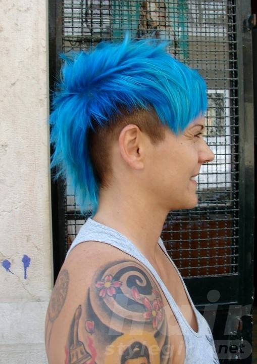 Short Blue Punk Hairstyle