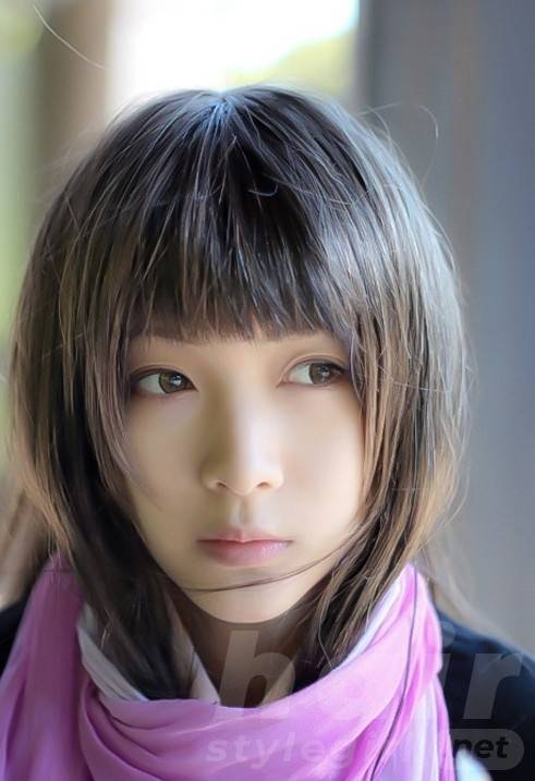 Cute Short Asian Haircut with Straight Bangs