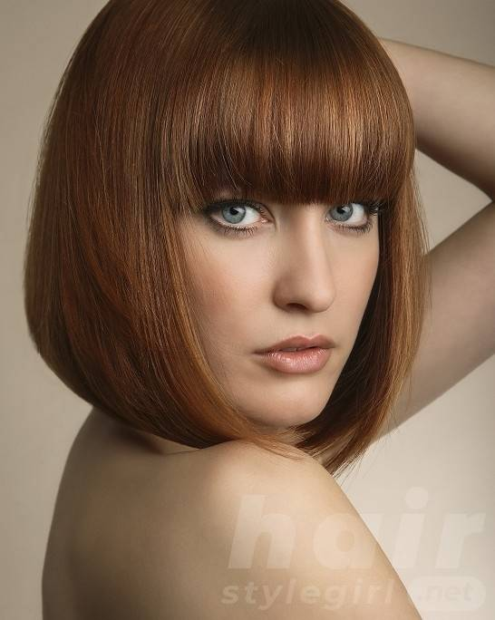 Short Bob Hairstyle with Straight Bangs
