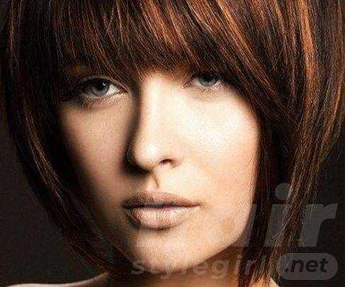 Short Straight Hair with Straight Bangs for Thick Hair