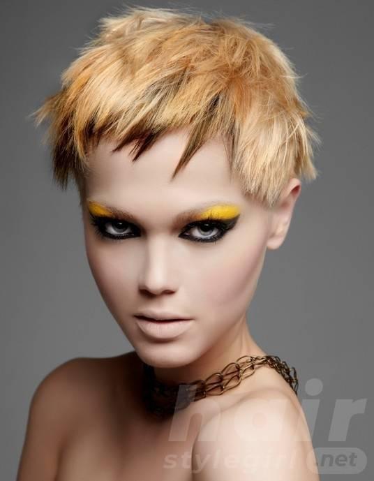 Trendy Short Haircut with Choppy Bangs