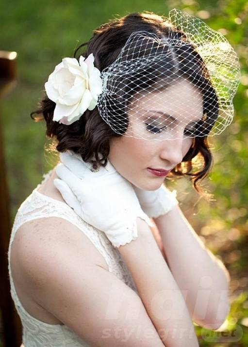 Curly Wedding Hairstyle for Short Hair with Flower