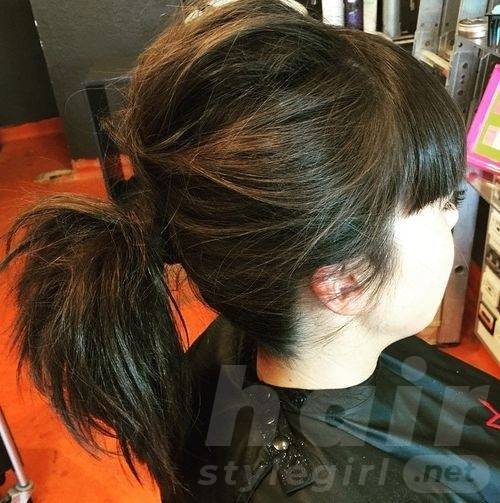 Black Ponytail with Blunt Bangs