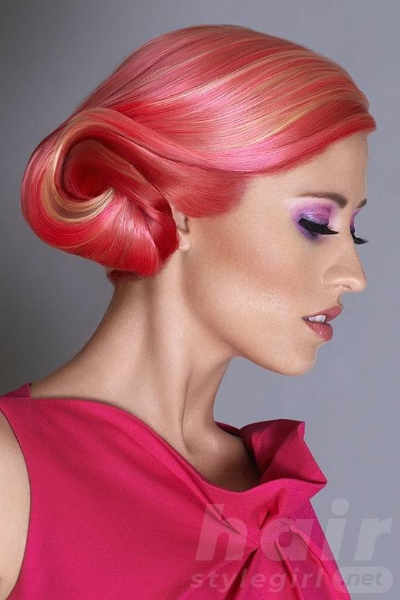 Colored Highlighted Bun Hairstyle