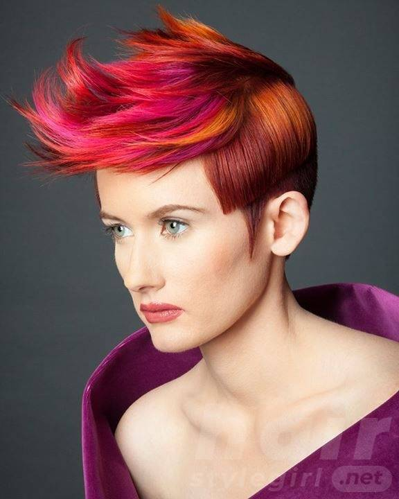 Colored Highlighted Fauxhauk Hairstyle
