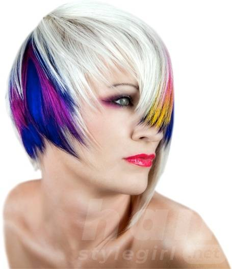 Colored Highlighted Short Hairstyle