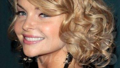 2014 Medium Wavy Curly Hairstyle with Side Swept Bangs for Women
