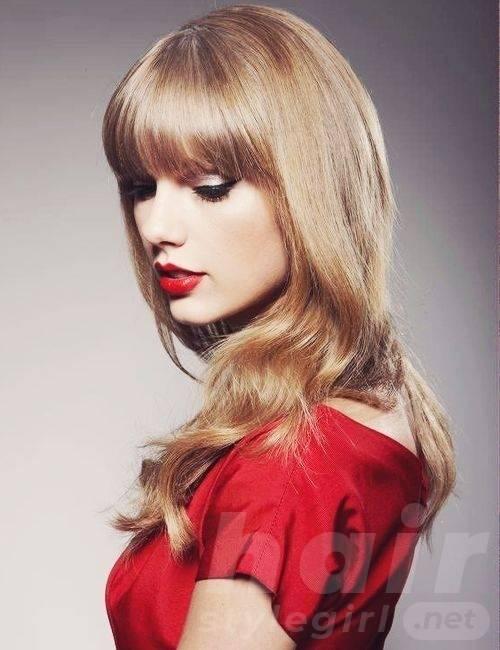 Taylor Swift Hair - Long Wavy Hair With Bangs