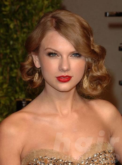 Taylor Swift Hair - Retro Wavy Mid-length Hairstyle