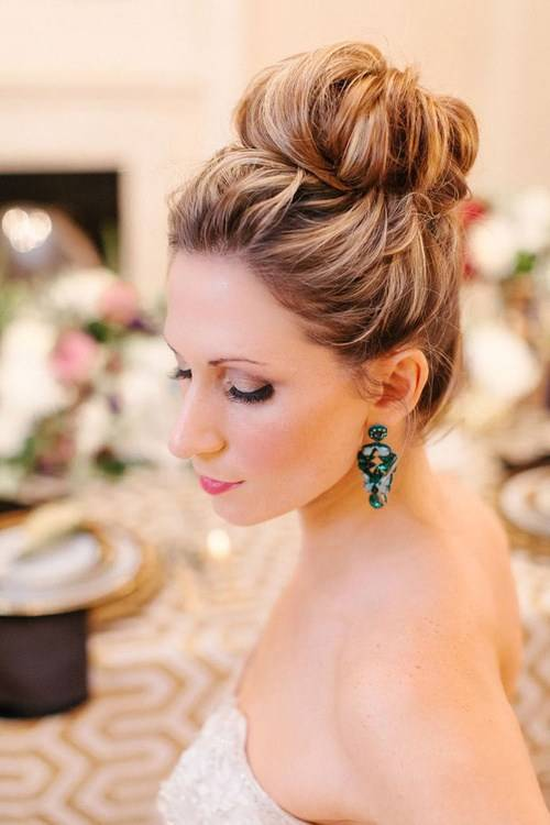 High Bun Hairstyle for Beach Wedding