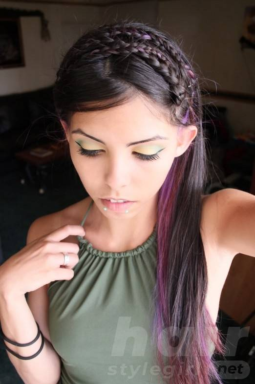 Brunette Hair With Purple Highlights - Cute Braided Long Hairstyle for Girls