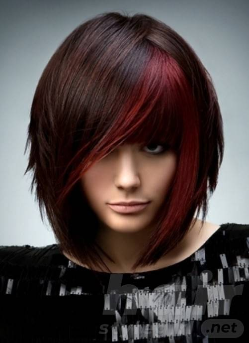 Brunette With Red Highlights - Short Straight Bob Haircut with Red Highlights