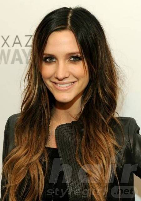 Dark Brunette Hair With Blonde Highlights - Long Hairstyle for Oval Face Shape
