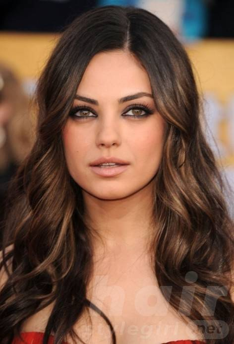 Long Wavy Brunette Hair with Blonde Highlights