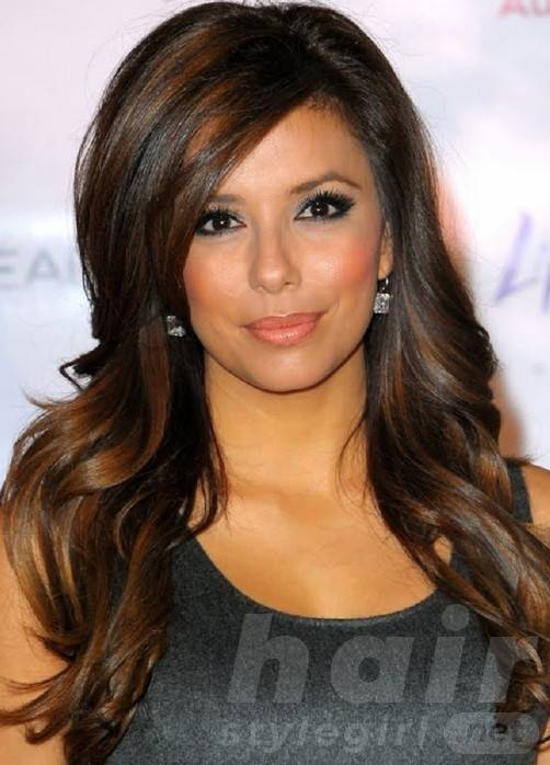 Long Wavy Dark Brunette Hair With Highlights - Long Hairstyles 2014