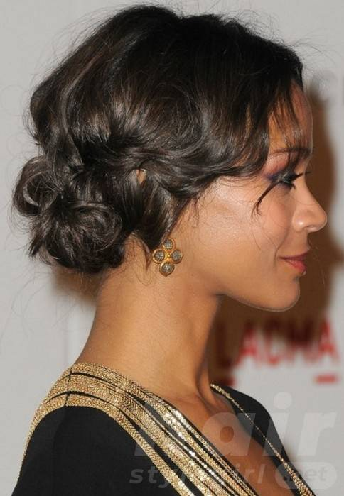 Side View of Short Black Prom Updos